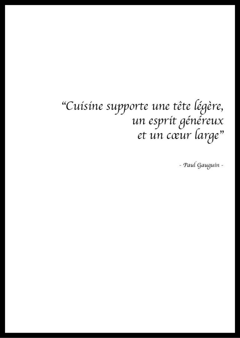 Citation Cuisine Paul Gaugin