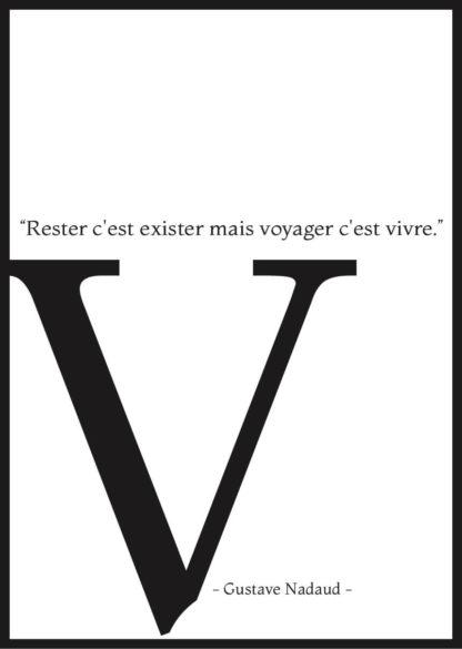 Affiche citation voyage Gustave Nadaud