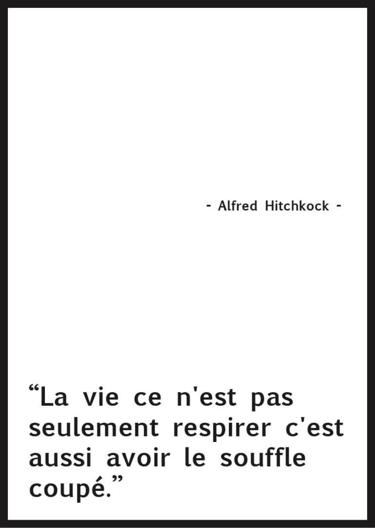 Affiche citation voyage Alfred Hitchcock