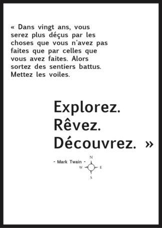 Affiche Citation Voyage Mark Twain