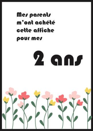 Affiche 2 ans fleurs