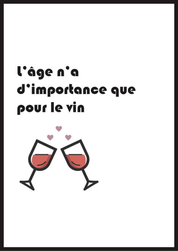 Affiche verre de vin pour anniversaire