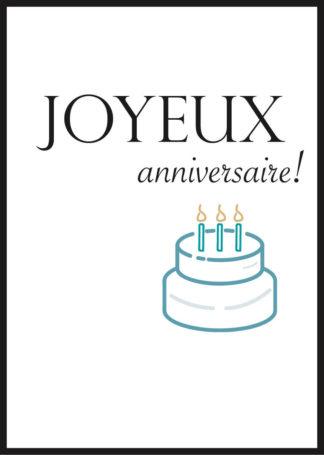 Affiche joyeux anniversaire gâteau
