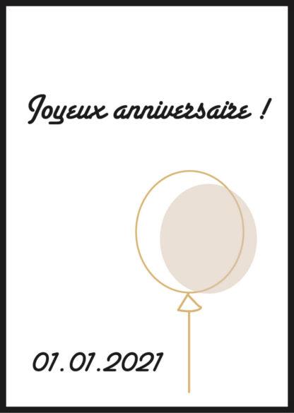 Affiche joyeux anniversaire personnalisée minimaliste