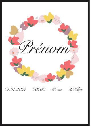 Affiche naissance personnalisée pour Bébé