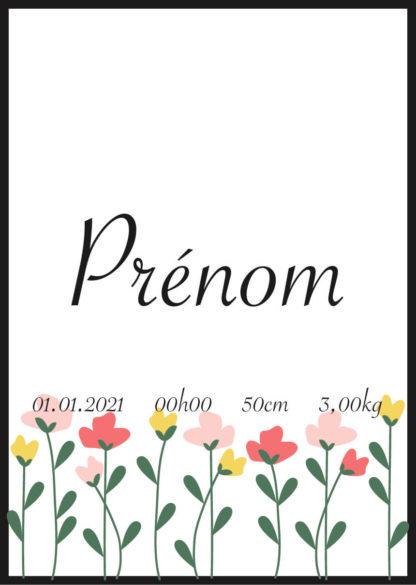 Affiche naissance personnalisée fleurs