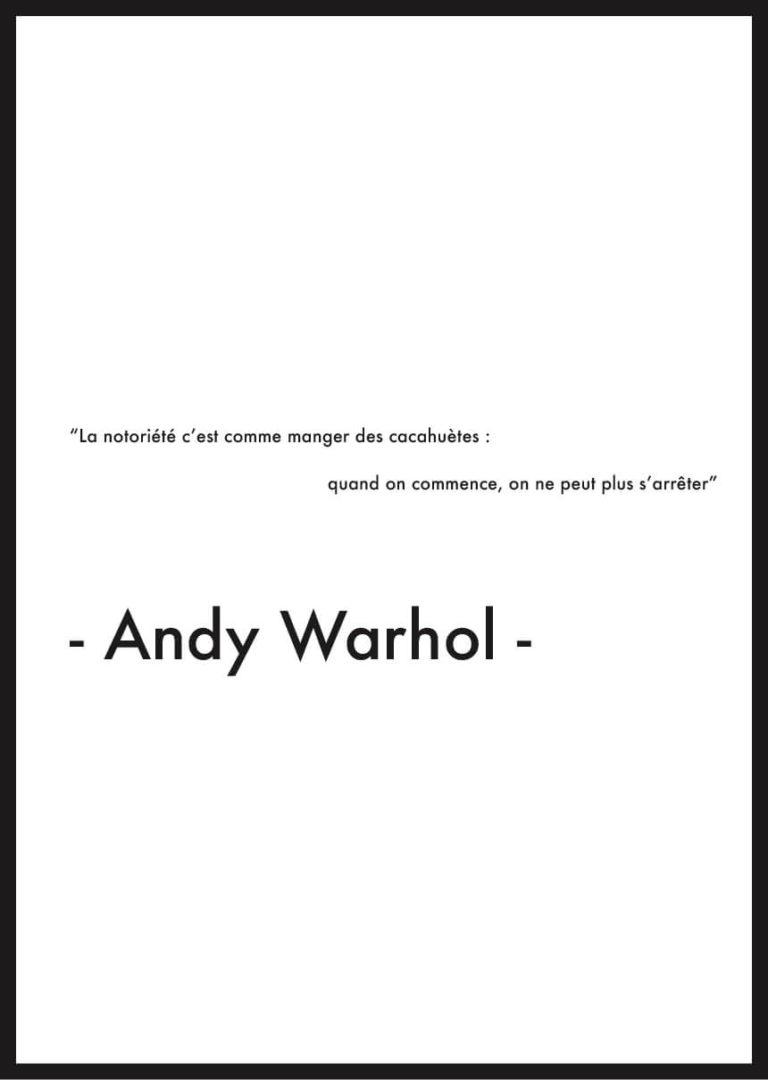 affiche citation andy warhol notoriété