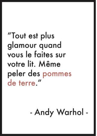 affiche citation andy warhol glamour