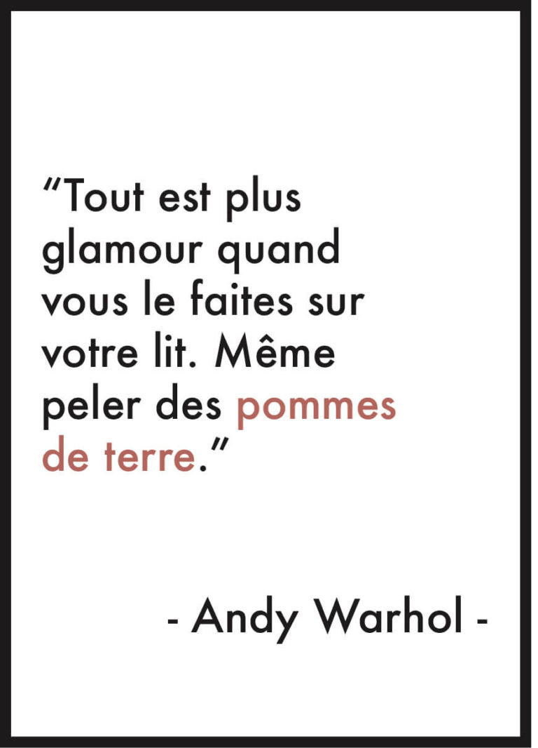affiche citation andy warhol glamour
