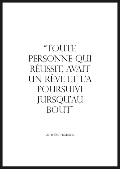 Affiche citation motivation Anthony Robbins