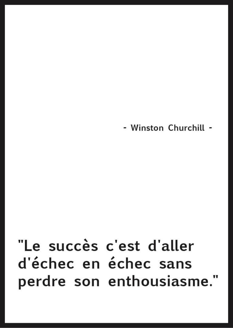 affiche citation Winston Churchill motivationnelle